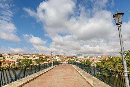 riverine: Landscape of Zamora seen from an old bridge, Spain