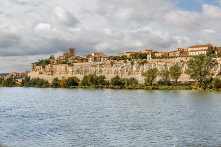 riverine: Great view of the Duero River and part of Zamora, Spain by Via de la Plata Stock Photo