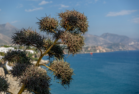 nerja: View of mediterranean sea with mountains at the background, on a summer day