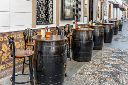 dinky: Typical Spanish bar with oak barrels on the outside, to take tapas and beers Stock Photo