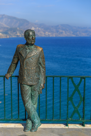 nerja: Sculpture located in a beautiful view, next to the Mediterranean sea, Nerja Spain