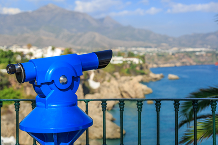 nerja: Spyglass with a beautiful and blue mediterranean landscape in the background Stock Photo