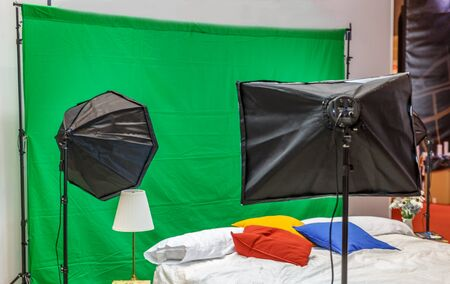 photgraphy: Small photo studio with a bed, ready for a photgraphy session Stock Photo