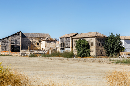 Huts and cabins in the middle of an arid zone in the south of Spain