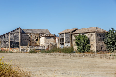 Abandoned cabins in the middle of an arid area in southern Spain