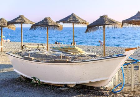 Gros plan, bateau, milieu, climat tropical, plage, espagne Banque d'images - 79439037