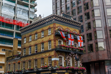 hotel building: Close-up of a typical pub in central London Stock Photo