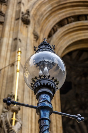 Typical glass lamp outside Westminster Abbey, London, UK
