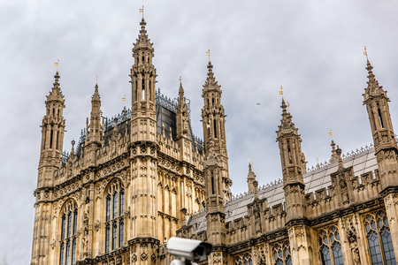 middlesex: View of one tower of Palace of Westminster, London, United Kingdom