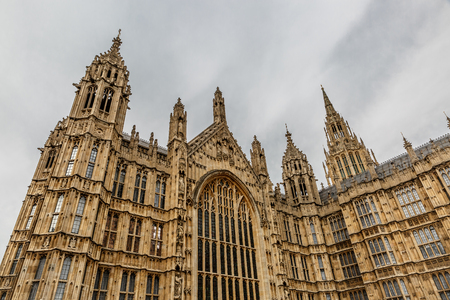 middlesex: Palace of Westminster in a cloudy day, seat of the Parliament of the United Kingdom