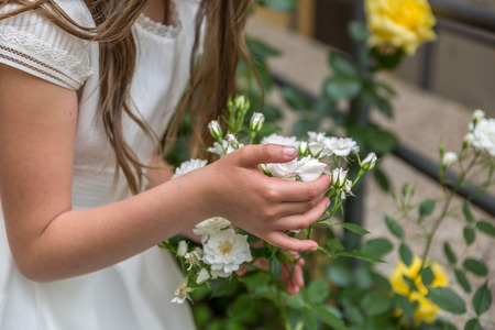 View of the hand of a little girl touching white flowers in a garden