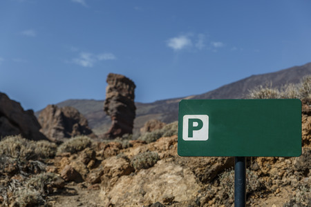 Green poster with rocks in the background, in the Teide National Park, Tenerife, Canary Islands