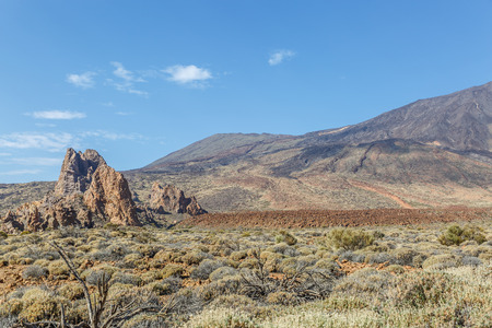 View of a typical arid landscape in the area of the Teide volcano, in the Canary Islands, Spain