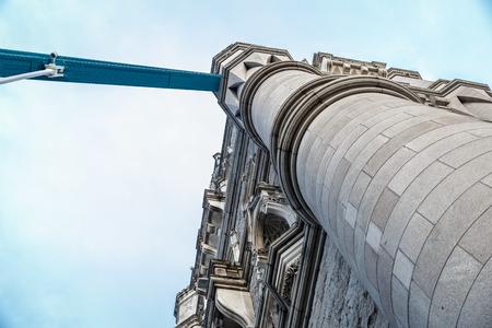 Close-up from below tower bridge in London. UK