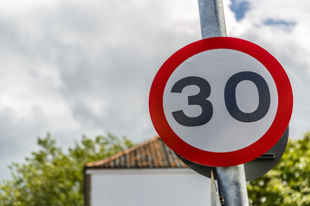 Signal of maximum speed of 30 miles per hour, UK