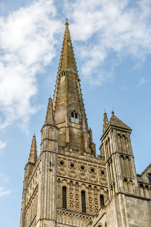 Needle Tower of the famous cathedral in the city of Norwich, Norfolk area, England, UK Stock Photo
