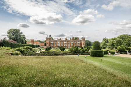 Gardens of the large manor house of Blickling Hall in the village of Blickling north of Aylsham in the county of Norfolk, England, United Kingdom Editorial