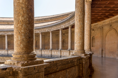 Round Patio and double colonnade of Charles V Palace inside the Nasrid fortification of the Alhambra, Granada, Andalusia, Spain Editorial