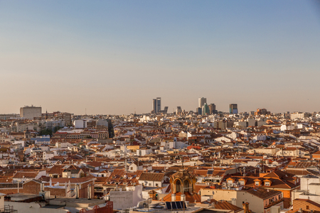 View of the skyline of the city of Madrid in aclear day, Spain