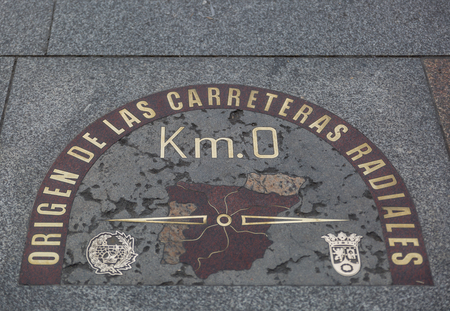 Detail of kilometre zero point in Puerta del Sol, Madrid, Spain Stok Fotoğraf - 117003195