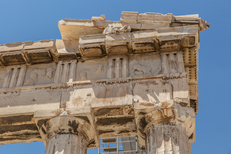 Detail view of the Parthenon, a former temple on the Athenian Acropolis, Greece