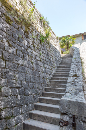 Stone staircase in a mediaeval style town, Europe Stok Fotoğraf