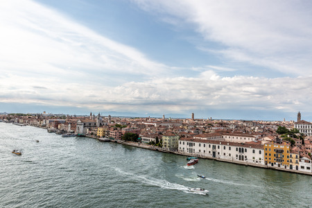 Aerial view of a part of Venice, one of the most beautiful cities in the world, Italy