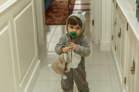 A cute toddler with a very funny pajamas and a pacifier, goes down the hall of his house with a bunny Standard-Bild