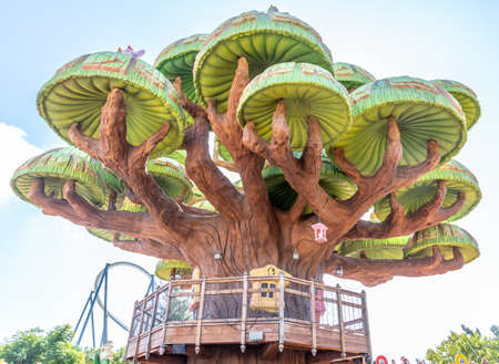 Fictional representation of giant mushrooms in a park for children to enjoy
