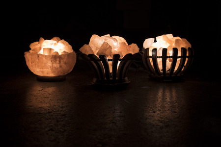 salt lamp: Salt Lamp - 3 Baskets Stock Photo