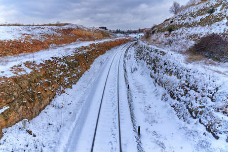 Frozen and snowy train tracks, in Salamanca, after the storm Filomena