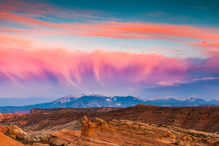 View to the La Sal Mountains from Arches National Park, Utah