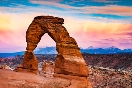 violet background: View to the La Sal Mountains from Arches National Park, Utah