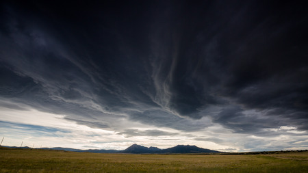 mood: Wide open range in Alamosa County, Colorado Stock Photo