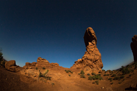 meteors: Balanced Rock in the Arches National Park, Utah, USA