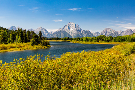 Views of the Grand Teton National Park and the Snake River, Wyoming Stock Photo