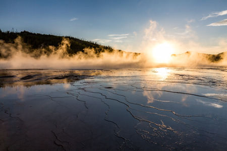 prismatic: Grand Prismatic Spring at sunset in Yellowstone National Park, USA