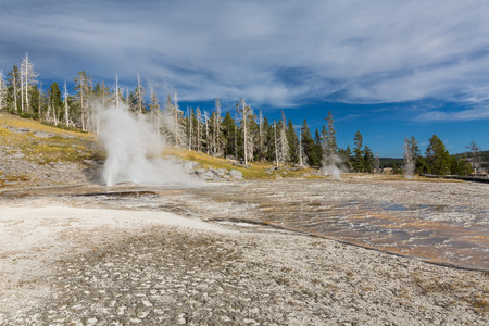 visitors area: Upper Geyser Basin - Walkway in Yellowstone National Park, Wyoming
