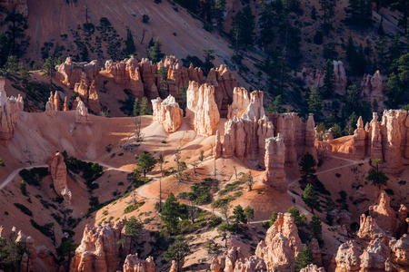 arial views: Sunset in Bryce Canyon National Park, Utah Stock Photo