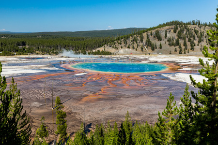 prismatic: Grand Prismatic Spring in Yellowstone National Park, USA Stock Photo