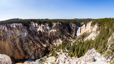 lower yellowstone falls: Lower Yellowstone Falls in the Yellowstone National Park, USA Stock Photo