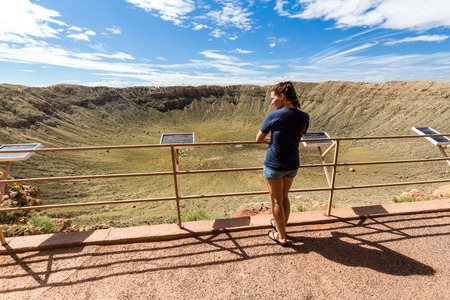 flagstaff: View of the Meteor Crater, Flagstaff, Arizona Stock Photo