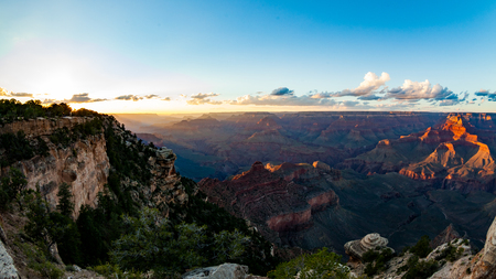 south kaibab trail: Grand Canyon at sunset views from Yaki Point, Arizona