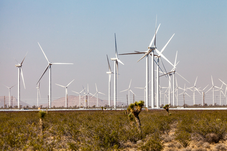 Windmill farm in Mojave desert, California