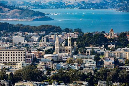 admissions: View from Twin Peaks to Saint Ignatius Church, San Francisco Editorial