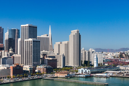 telegraph hill: View from Treasure Island to San Francisco Editorial