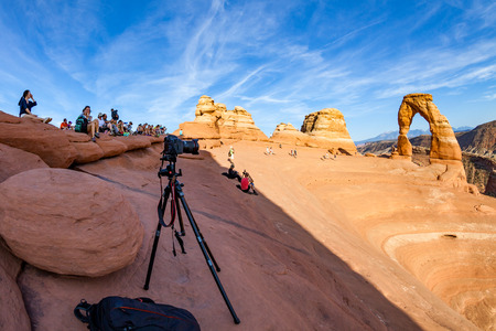 moab: MOAB, UTAH - AUGUST 28: Views of the Delicate Arch in Arches National Park near Moab on August 28, 2015. The Delicate Arch is a famous picture motive for photographers.