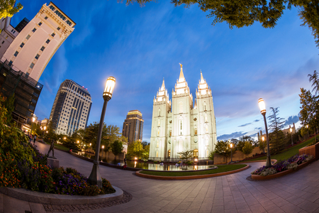 cottonwood canyon: SALT LAKE CITY, UTAH - AUGUST 30: Exterior views of the The Church of Jesus Christ of Latter-day Saints by sunset on August 30, 2015. Iis a Christian restorationist church in Salt Lake City.