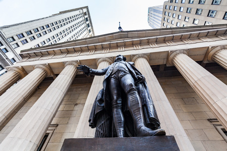 the place is important: NEW YORK - AUGUST 24: Views of to the Wall Street and Buildings in the financial district in Manhattan Downtown, New York on August 24, 2015. Wall Street is an important financial place.