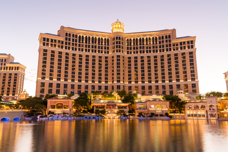 bellagio fountains: LAS VEGAS, NEVADA - SEPTEMBER 8: Exterior views of the Bellagio Casino on the strip on September 8, 2015. The Bellagio is a famous and popular luxury casino with a big lake in front of it.